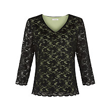 Buy Kaliko Contrast Lining Lace Top, Black Online at johnlewis.com