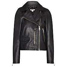 Buy Whistles Leather Agnes Biker Jacket Online at johnlewis.com