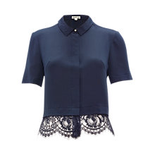 Buy Whistles Silk Betsy Lace Shirt, Dark Grey Online at johnlewis.com
