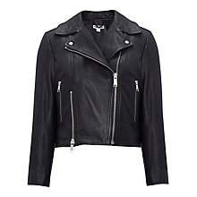 Buy Whistles Leather Cara Cropped Biker Jacket, Black Online at johnlewis.com