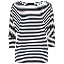 Buy Jaegar Breton Stripe Batwing Top, Ivory/Navy Online at johnlewis.com