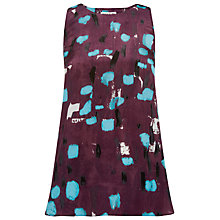 Buy Whistles Smudge Print Top, Burgundy Online at johnlewis.com