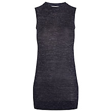 Buy Whistles Marl Longline Tank Top, Navy Online at johnlewis.com