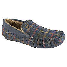 Buy Barbour Monty Check Wool Slippers, Navy Online at johnlewis.com