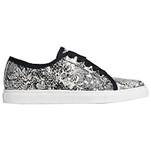 Buy L.K. Bennett Bette Lace Up Flat Trainer, Black/White Leather Online at johnlewis.com