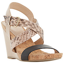 Buy Dune Grainne Cork Detail Wedge Sandals, Nude Online at johnlewis.com