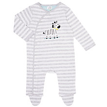 Buy John Lewis Baby Zebra Sleepsuit, Grey Online at johnlewis.com