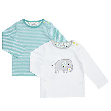 Buy John Lewis Baby Elephant  Long Sleeve Top, Pack of 2, White/Blue Online at johnlewis.com