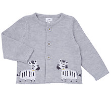 Buy John Lewis Baby Knitted Zebra Cardigan, Grey Online at johnlewis.com