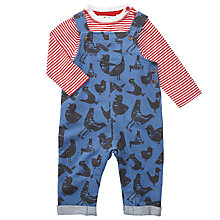 Buy John Lewis Baby Stripe and Bird Dungaree Set, Blue/Red Online at johnlewis.com