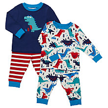 Buy John Lewis Baby Dinosaur Pyjamas, Pack of 2, Multi Online at johnlewis.com