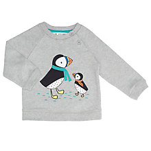 Buy John Lewis Baby Puffin Sweatshirt, Grey Marl Online at johnlewis.com