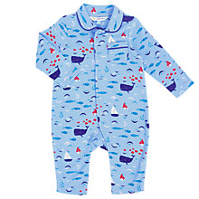 Buy John Lewis Baby Nautical Collar Sleepsuit, Blue Online at johnlewis.com