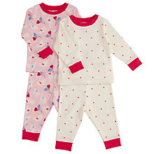 Buy John Lewis Baby Bunny Balloons Pyjamas, Pack of 2, Pink/Cream Online at johnlewis.com