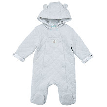 Buy John Lewis Baby Quilted Zebra Pramsuit, Grey Online at johnlewis.com