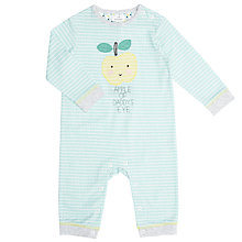 Buy John Lewis Baby Daddy Apple Sleepsuit, Aqua Online at johnlewis.com