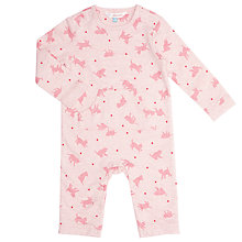 Buy John Lewis Baby Kitten Print Sleepsuit, Pink Online at johnlewis.com