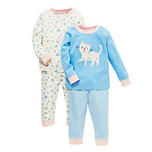 Buy John Lewis Baby Cat and Rose Pyjamas, Pack of 2, Blue/Cream Online at johnlewis.com