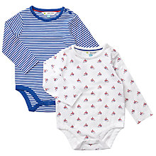 Buy John Lewis Baby Boat and Stripe Bodysuits, Pack of 2, Cream/Blue/Red Online at johnlewis.com
