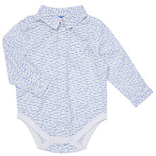 Buy John Lewis Baby Fish Print Shirt Bodysuit, White/Blue Online at johnlewis.com