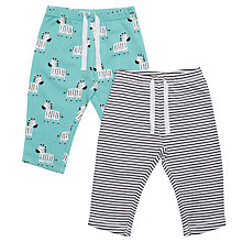 Buy John Lewis Baby Zebra Stripe Joggers, Pack of 2, Aqua Online at johnlewis.com