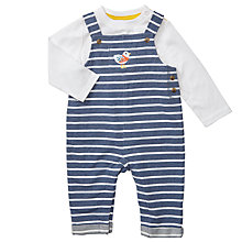Buy John Lewis Baby Stripe Bird Dungaree Set, Navy/White Online at johnlewis.com