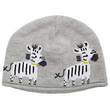 Buy John Lewis Baby Kintted Zebra Hat, Grey Online at johnlewis.com
