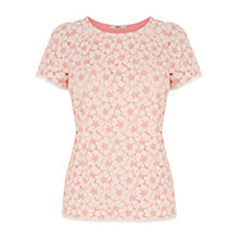 Buy Oasis Contrast Daisy Lace T-Shirt, Coral Online at johnlewis.com
