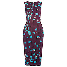 Buy Whistles Smudge Print Eva Bodycon Dress, Burgundy Online at johnlewis.com