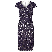 Buy Jacques Vert Petite Two Toned Lace Dress, Dark Purple Online at johnlewis.com