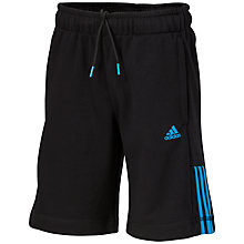 Buy Adidas Boys' 3-Stripe Shorts, Black/Solar Blue Online at johnlewis.com