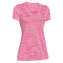 Buy Under Armour Tech Space Dye V-Neck T-Shirt, Pink Online at johnlewis.com