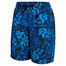 "Buy Speedo Boys' Print 17"" Leisure Swim Shorts, Blue/Black Online at johnlewis.com"