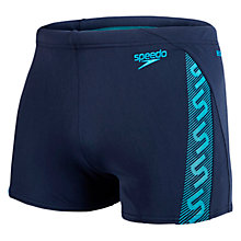 Buy Speedo Monogram Aquashorts Swim Shorts, Navy/Blue Online at johnlewis.com