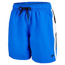 "Buy Speedo Boys' Yoke Splice 15"" Swim Shorts, Blue Online at johnlewis.com"