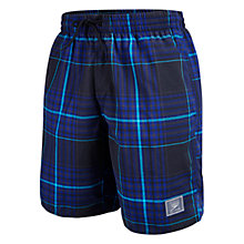 "Buy Speedo Check Leisure 18"" Watershort Swim Shorts, Black/Blue Online at johnlewis.com"