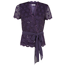 Buy Jacques Vert Petite Cross Front Jersey Top, Dark Purple Online at johnlewis.com