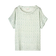 Buy East Krishna Print Linen Bardot Top, Lagoon Online at johnlewis.com