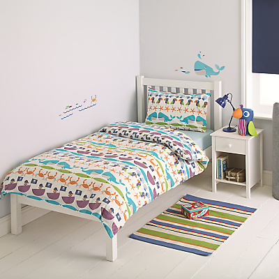 little home at John Lewis Two-by-Two Whales & Waves Duvet Cover and Pillowcase Set, Single
