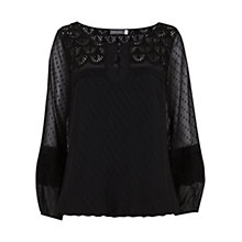 Buy Mint Velvet Scallop Lace Blouse, Black Online at johnlewis.com
