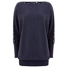 Buy Mint Velvet Stud Batwing Knitted Jumper, Blue Online at johnlewis.com