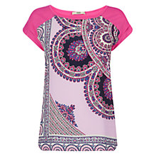 Buy Oasis Asymmetric Paisley Print T-Shirt, Multi Pink Online at johnlewis.com