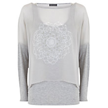 Buy Mint Velvet Iyana Print Double Layer Top, Grey Online at johnlewis.com