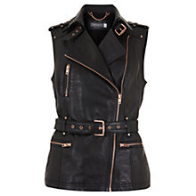 Buy Mint Velvet Leather Biker Gilet, Black Online at johnlewis.com