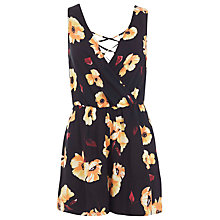 Buy Miss Selfridge Petite Lattice Frill Playsuit, Multi Online at johnlewis.com