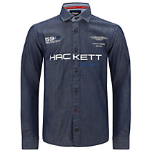Buy Hackett London Boys' Aston Martin Logo Long Sleeve Shirt, Indigo Online at johnlewis.com