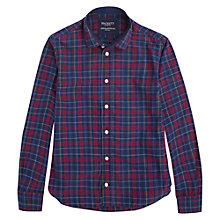 Buy Hackett London Boys' Check Shirt, Red/Blue Online at johnlewis.com