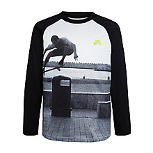 Buy Nike SB Boys' Photo-Real Raglan T-Shirt, Black Online at johnlewis.com
