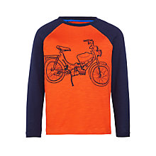 Buy John Lewis Boy Motorbike Raglan Long Sleeve T-Shirt, Orange/Navy Online at johnlewis.com