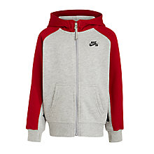 Buy Nike SB Boys' Full Zip Hoodie, Grey/Red Online at johnlewis.com